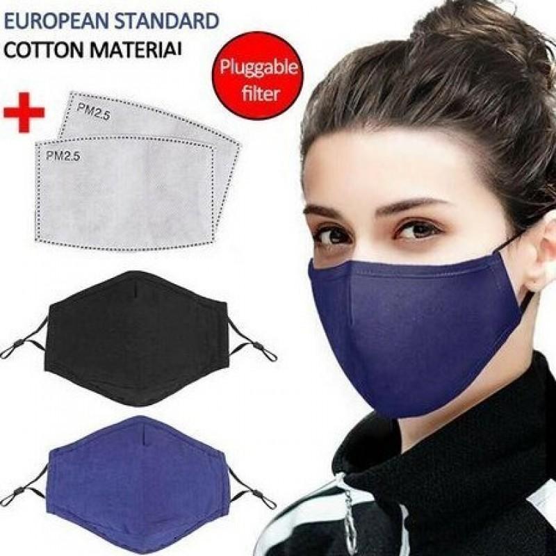 Caja de 5 unidades Mascarillas Protección Respiratoria Color azul. Mascarilla de protección respiratoria reutilizable con 50 piezas de filtros de carbón