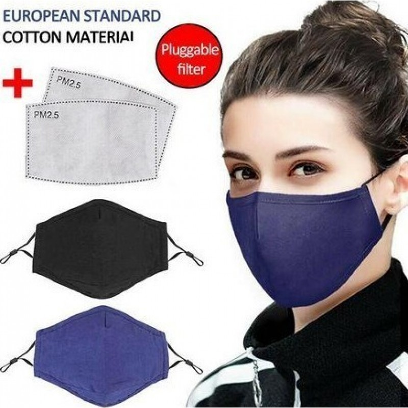 Scatola da 10 unità Maschere Protezione Respiratorie Colore blu. Maschere di protezione respiratoria riutilizzabili con filtri a carbone attivo da 100 pezzi