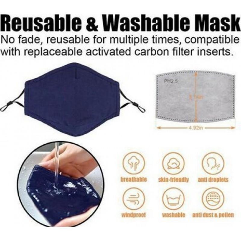 5個入りボックス 呼吸保護マスク 格子パターン。 50個の木炭フィルターが付いている再使用可能な呼吸保護マスク