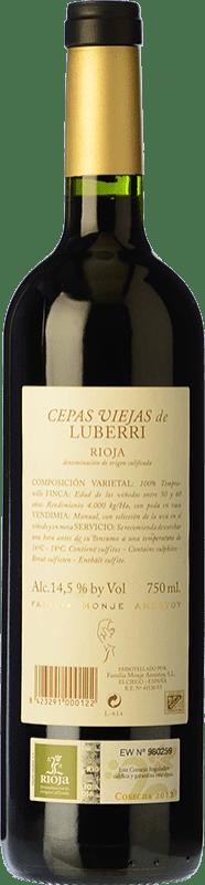 38,95 € Free Shipping | Red wine Luberri Cepas Viejas Crianza D.O.Ca. Rioja The Rioja Spain Tempranillo Bottle 75 cl