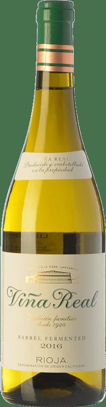 10,95 € Free Shipping | White wine Norte de España - CVNE Viña Real Blanco Fermentado en Barrica Crianza D.O.Ca. Rioja The Rioja Spain Viura Bottle 75 cl