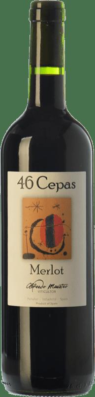 9,95 € 免费送货 | 红酒 Maestro Tejero 46 Cepas Joven I.G.P. Vino de la Tierra de Castilla y León 卡斯蒂利亚莱昂 西班牙 Merlot 瓶子 75 cl