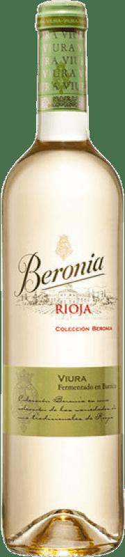 12,95 € Envío gratis | Vino blanco Beronia Fermentado en Barrica Crianza D.O.Ca. Rioja La Rioja España Viura Botella 75 cl