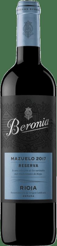 21,95 € Envío gratis | Vino tinto Beronia Reserva D.O.Ca. Rioja La Rioja España Mazuelo Botella 75 cl