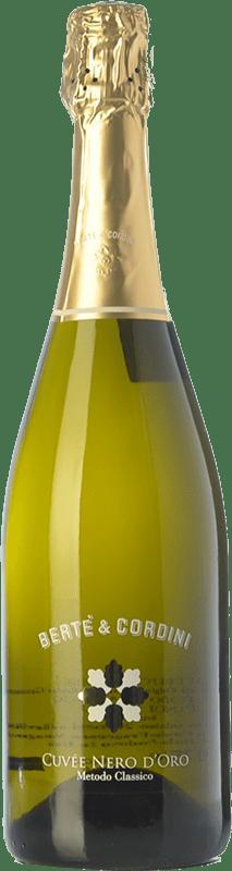15,95 € Free Shipping | White sparkling Bertè & Cordini Nero d'Oro D.O.C.G. Oltrepò Pavese Metodo Classico Lombardia Italy Pinot Black Bottle 75 cl