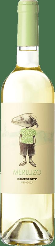 9,95 € Free Shipping | White wine Binifadet Merluzo I.G.P. Vi de la Terra de Illa de Menorca Balearic Islands Spain Merlot, Malvasía, Muscatel, Chardonnay Bottle 75 cl