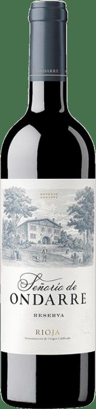 17,95 € Envío gratis | Vino tinto Ondarre Señorío de Ondarre Reserva D.O.Ca. Rioja La Rioja España Tempranillo, Garnacha, Mazuelo Botella 75 cl