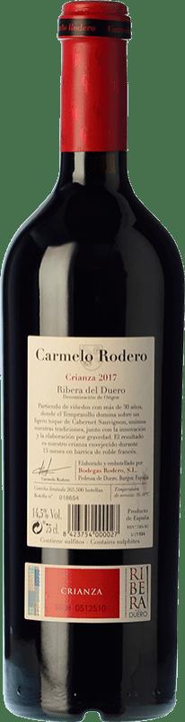19,95 € Free Shipping   Red wine Carmelo Rodero Crianza D.O. Ribera del Duero Castilla y León Spain Tempranillo, Cabernet Sauvignon Bottle 75 cl