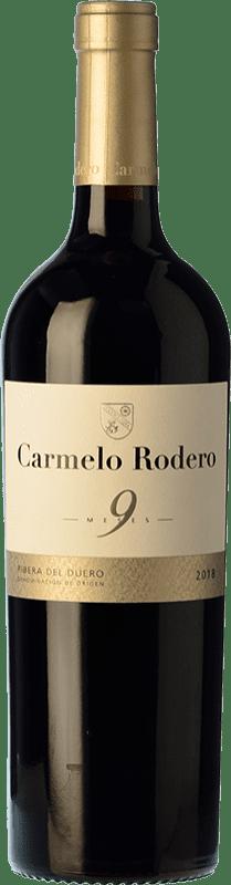 11,95 € 免费送货 | 红酒 Carmelo Rodero 9 Meses Joven D.O. Ribera del Duero 卡斯蒂利亚莱昂 西班牙 Tempranillo 瓶子 75 cl