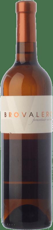 9,95 € Envío gratis | Vino blanco Bro Valero Fermentado en Barrica Crianza D.O. La Mancha Castilla la Mancha España Macabeo, Chardonnay Botella 75 cl