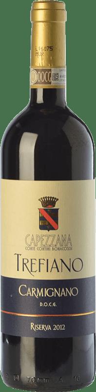 51,95 € Free Shipping | Red wine Capezzana Riserva Trefiano Reserva D.O.C.G. Carmignano Tuscany Italy Cabernet Sauvignon, Sangiovese, Canaiolo Bottle 75 cl