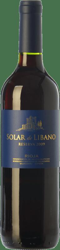 12,95 € Envío gratis | Vino tinto Castillo de Sajazarra Solar de Líbano Reserva D.O.Ca. Rioja La Rioja España Tempranillo, Garnacha, Graciano Botella 75 cl