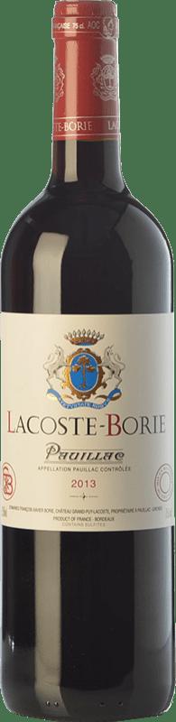 39,95 € | Red wine Château Grand-Puy-Lacoste Lacoste Borie Crianza A.O.C. Pauillac Bordeaux France Merlot, Cabernet Sauvignon, Cabernet Franc Bottle 75 cl