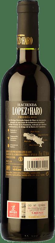 6,95 € Free Shipping | Red wine Classica Hacienda López de Haro Crianza D.O.Ca. Rioja The Rioja Spain Tempranillo, Grenache, Graciano Bottle 75 cl