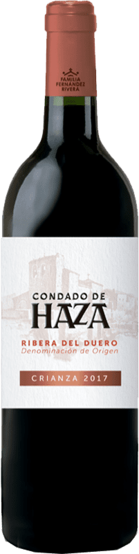 14,95 € 免费送货 | 红酒 Condado de Haza Crianza D.O. Ribera del Duero 卡斯蒂利亚莱昂 西班牙 Tempranillo 瓶子 75 cl