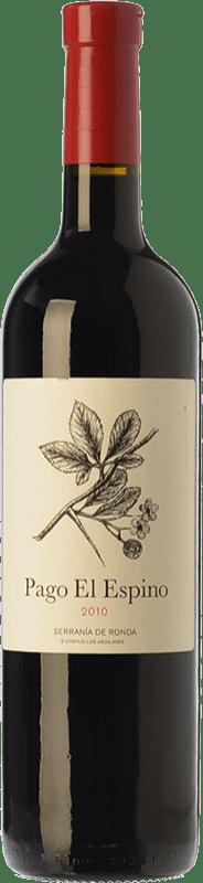 22,95 € Free Shipping | Red wine Los Aguilares Pago El Espino Crianza D.O. Sierras de Málaga Andalusia Spain Tempranillo, Merlot, Petit Verdot Bottle 75 cl