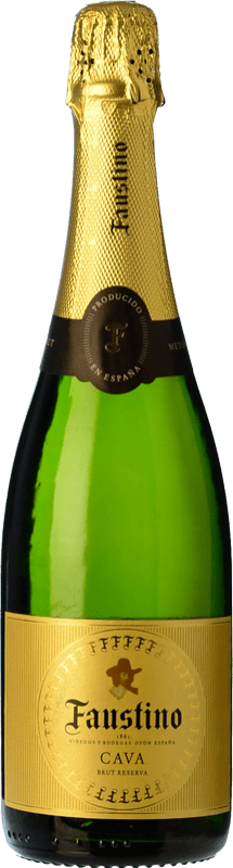 9,95 € 免费送货 | 白起泡酒 Faustino 香槟 Reserva D.O. Cava 加泰罗尼亚 西班牙 Macabeo, Chardonnay 瓶子 75 cl