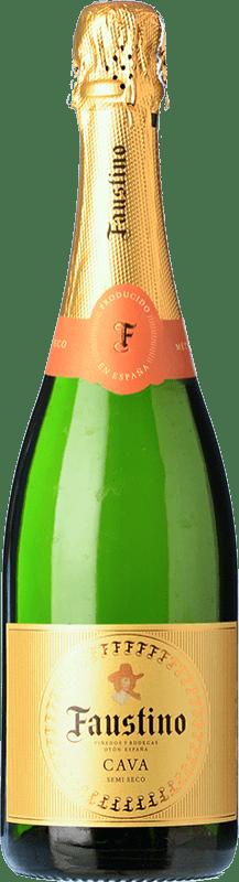8,95 € 免费送货 | 白起泡酒 Faustino 干 Joven D.O. Cava 加泰罗尼亚 西班牙 Macabeo, Chardonnay 瓶子 75 cl