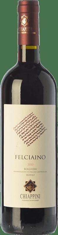 19,95 € Free Shipping | Red wine Chiappini Rosso Felciaino D.O.C. Bolgheri Tuscany Italy Merlot, Cabernet Sauvignon, Sangiovese Bottle 75 cl
