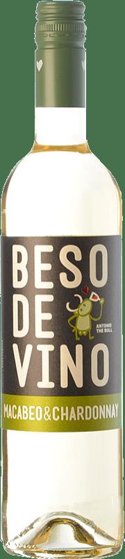 5,95 € 免费送货 | 白酒 Grandes Vinos Beso de Vino Joven D.O. Cariñena 阿拉贡 西班牙 Macabeo, Chardonnay 瓶子 75 cl