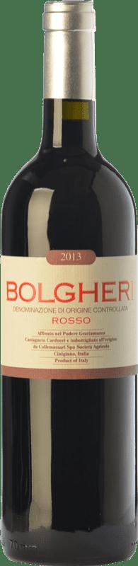 23,95 € Envío gratis | Vino tinto Grattamacco Rosso D.O.C. Bolgheri Toscana Italia Merlot, Cabernet Sauvignon, Sangiovese, Cabernet Franc Botella 75 cl
