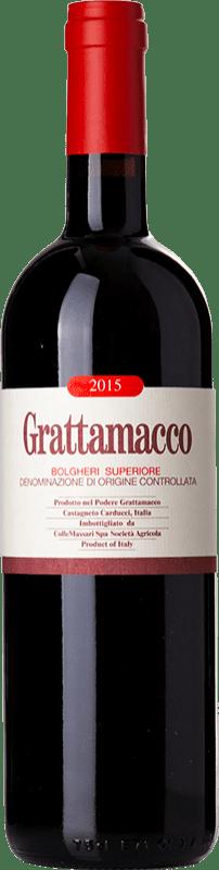 94,95 € Free Shipping | Red wine Grattamacco Superiore D.O.C. Bolgheri Tuscany Italy Merlot, Cabernet Sauvignon, Sangiovese Bottle 75 cl
