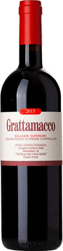 94,95 € Envío gratis | Vino tinto Grattamacco Superiore D.O.C. Bolgheri Toscana Italia Merlot, Cabernet Sauvignon, Sangiovese Botella 75 cl