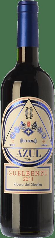 6,95 € Free Shipping | Red wine Guelbenzu Azul Joven I.G.P. Vino de la Tierra Ribera del Queiles Aragon Spain Tempranillo, Merlot, Cabernet Sauvignon Bottle 75 cl