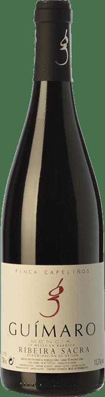 36,95 € | Red wine Guímaro Finca Capeliños Crianza D.O. Ribeira Sacra Galicia Spain Mencía, Sousón, Caíño Black Bottle 75 cl