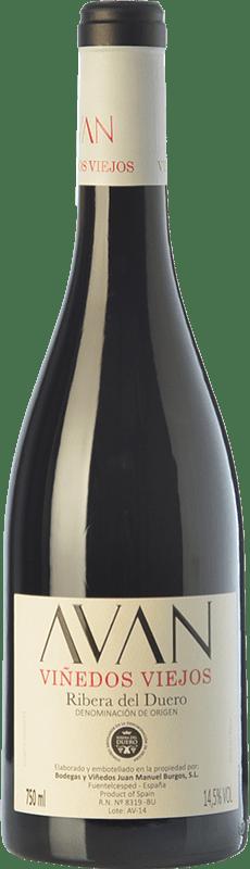 18,95 € Envío gratis | Vino tinto Juan Manuel Burgos Avan Viñedos Viejos Crianza D.O. Ribera del Duero Castilla y León España Tempranillo Botella 75 cl
