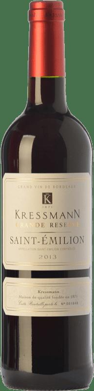 15,95 € Envío gratis | Vino tinto Kressmann Grande Réserve Gran Reserva A.O.C. Saint-Émilion Burdeos Francia Merlot, Cabernet Sauvignon, Cabernet Franc Botella 75 cl