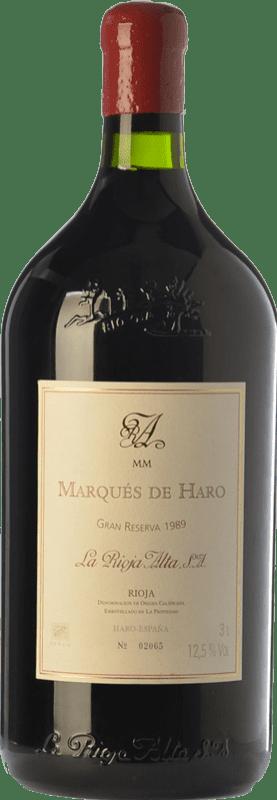 309,95 € 免费送货 | 红酒 Rioja Alta Marqués de Haro Gran Reserva 1989 D.O.Ca. Rioja 拉里奥哈 西班牙 Tempranillo, Graciano, Mazuelo 瓶子 Jéroboam-双Magnum 3 L