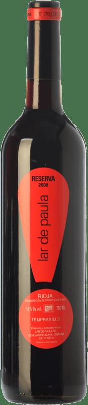 15,95 € Envío gratis | Vino tinto Lar de Paula Reserva D.O.Ca. Rioja La Rioja España Tempranillo Botella 75 cl