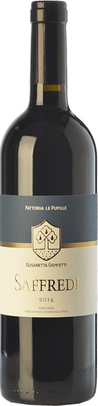 106,95 € Free Shipping | Red wine Le Pupille Saffredi D.O.C. Maremma Toscana Tuscany Italy Merlot, Cabernet Sauvignon, Petit Verdot Bottle 75 cl