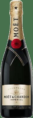 37,95 € 免费送货 | 白起泡酒 Moët & Chandon Impérial 香槟 Reserva A.O.C. Champagne 香槟酒 法国 Pinot Black, Chardonnay, Pinot Meunier 瓶子 75 cl