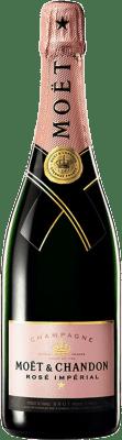 49,95 € Envio grátis | Espumante rosé Moët & Chandon Rosé Impérial Reserva A.O.C. Champagne Champagne França Pinot Preto, Chardonnay, Pinot Meunier Garrafa 75 cl