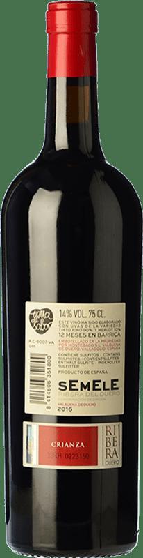12,95 € Free Shipping | Red wine Montebaco Semele Crianza D.O. Ribera del Duero Castilla y León Spain Tempranillo, Merlot Bottle 75 cl