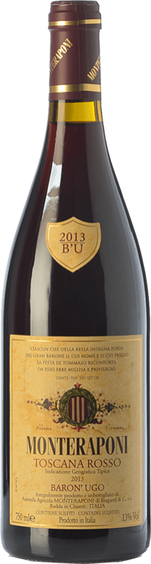 57,95 € Free Shipping | Red wine Monteraponi Baron'Ugo I.G.T. Toscana Tuscany Italy Sangiovese, Colorino, Canaiolo Bottle 75 cl