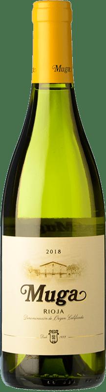 12,95 € Envío gratis | Vino blanco Muga Fermentado en Barrica Crianza D.O.Ca. Rioja La Rioja España Viura, Malvasía Botella 75 cl