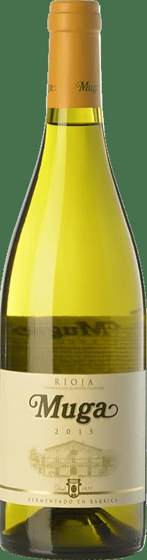 9,95 € Envío gratis | Vino blanco Muga Fermentado en Barrica Crianza D.O.Ca. Rioja La Rioja España Viura, Malvasía Botella Mágnum 1,5 L