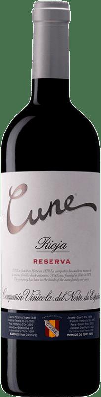 12,95 € 免费送货 | 红酒 Norte de España - CVNE Cune Reserva D.O.Ca. Rioja 拉里奥哈 西班牙 Tempranillo, Grenache, Graciano, Mazuelo 瓶子 75 cl