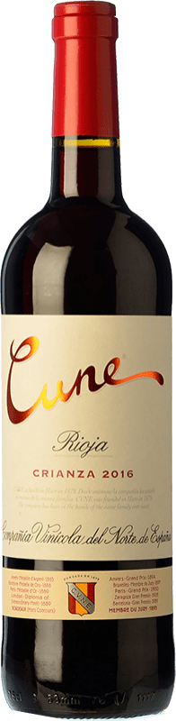 16,95 € Free Shipping | Red wine Norte de España - CVNE Cune Crianza D.O.Ca. Rioja The Rioja Spain Tempranillo, Grenache, Mazuelo Magnum Bottle 1,5 L