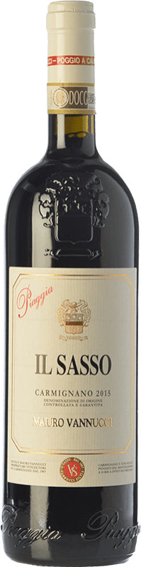 29,95 € Free Shipping | Red wine Piaggia Il Sasso D.O.C.G. Carmignano Tuscany Italy Merlot, Cabernet Sauvignon, Sangiovese, Cabernet Franc Bottle 75 cl