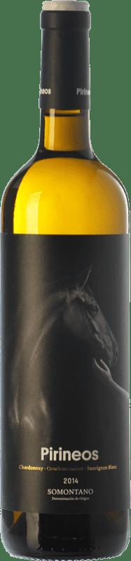 7,95 € Envío gratis | Vino blanco Pirineos D.O. Somontano Aragón España Chardonnay, Sauvignon Blanca, Gewürztraminer Botella 75 cl