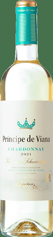 6,95 € Envío gratis | Vino blanco Príncipe de Viana Barrica Crianza D.O. Navarra Navarra España Chardonnay Botella 75 cl