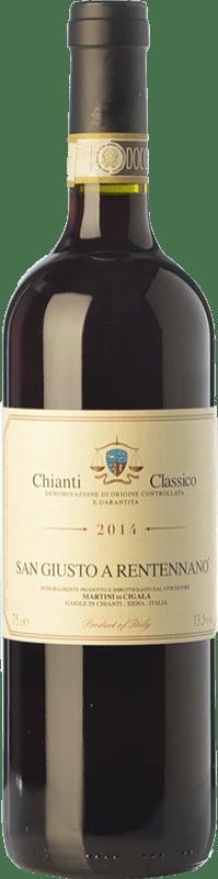 15,95 € 免费送货 | 红酒 San Giusto a Rentennano D.O.C.G. Chianti Classico 托斯卡纳 意大利 Sangiovese, Canaiolo 瓶子 75 cl