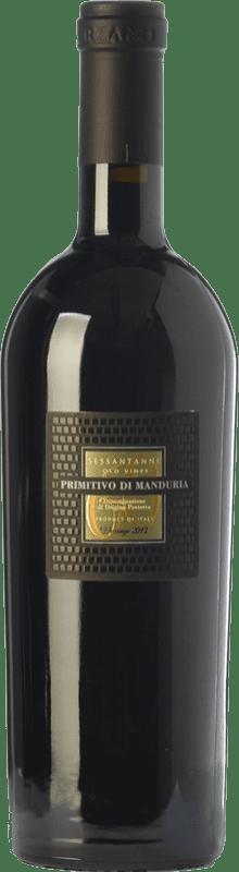 31,95 € 免费送货 | 红酒 San Marzano Sessantanni D.O.C. Primitivo di Manduria 普利亚大区 意大利 Primitivo 瓶子 75 cl