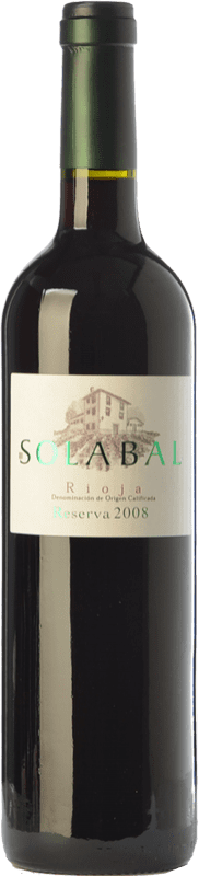 17,95 € Free Shipping | Red wine Solabal Reserva D.O.Ca. Rioja The Rioja Spain Tempranillo Bottle 75 cl