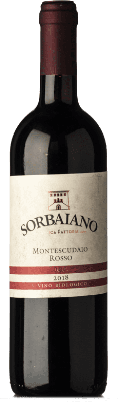 12,95 € Free Shipping | Red wine Sorbaiano Rosso D.O.C. Montescudaio Tuscany Italy Sangiovese, Montepulciano, Malvasia Black Bottle 75 cl