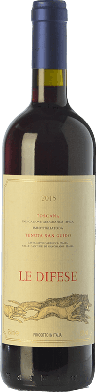 22,95 € 免费送货 | 红酒 San Guido Le Difese I.G.T. Toscana 托斯卡纳 意大利 Cabernet Sauvignon, Sangiovese 瓶子 75 cl